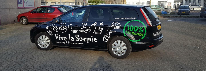 Autobelettering Viva la Soepie Almere